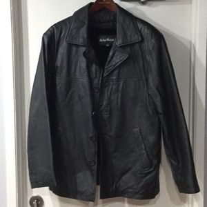Men's Black Leather Coat Small
